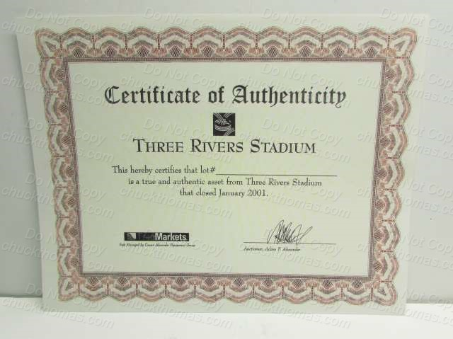 3 Rivers Stadium Certificate of Authenticity