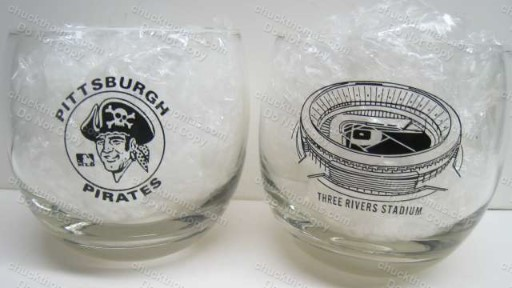 Three Rivers Stadium and Pirates Logos HiBall Glass