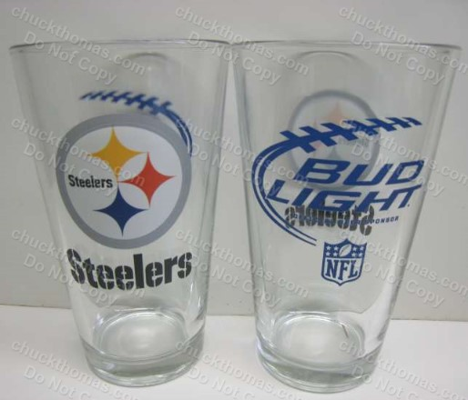 Bud Light and Steeler Steel Logos Heavy Pint Beer Glass