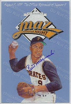 Bill Mazeroski Signed Retirement Program