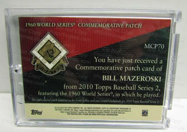 Topps Card Maz Pirates Commemorative Patch