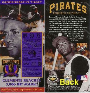 Clemente 3000th Hit Ticket
