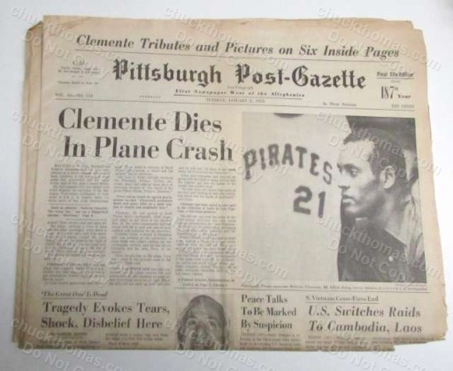 The Death of Roberto Clemente January 2 1973 ORIGINAL Pittsburgh Post Gazette Newspaper