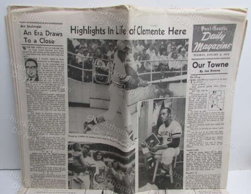 1973 Clemente Dies in Plane Crash ORIGINAL Pittsburgh Post-Gazette Newspaper