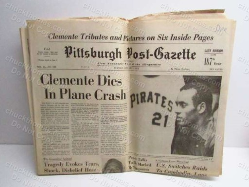 1973 Post Gazette Pittsburgh Newspaper Clemente's Death Coverage