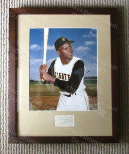 Roberto Clemente Autographed Cut Matted and Framed with a Color 8x10 ACE COA