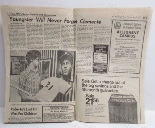 Roberto Clemente Jan 7, 1973 Newpaper Clipping