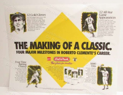 Roberto Clemente Set of 4 Glasses Eat'n Park Advertising Place Mat from 1994 !