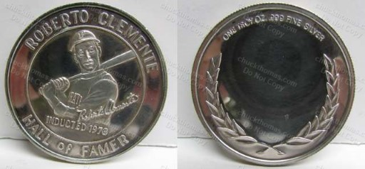 Roberto Clemente Hall of Fame .999 Pure Silver Coin