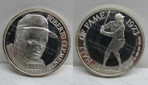 Roberto Clemente .999 Silver 1oz Hall of Fame Coin