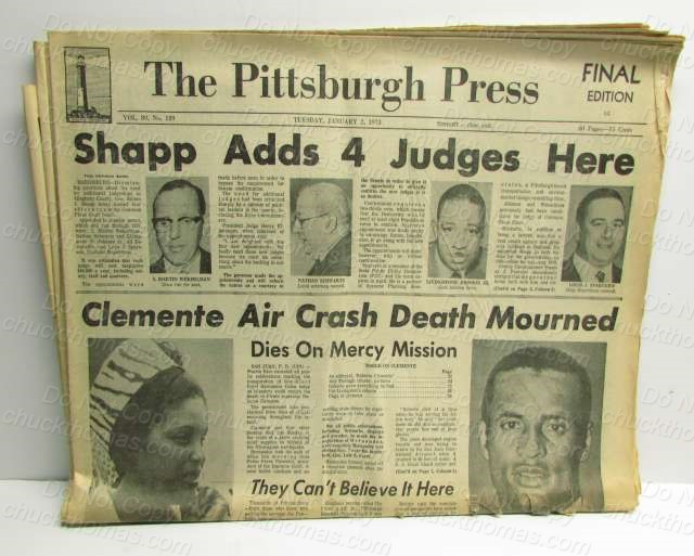 Roberto Clemente Death Newspaper January2, 1973