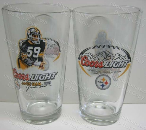 Coors Light and Steeler Logos Jack Ham Signature Heavy Pint Glass