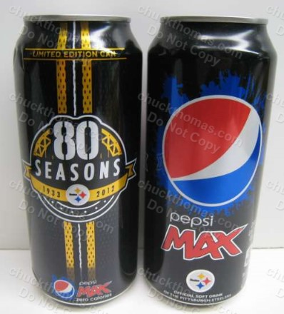 Steelers 80th Season Pepsi Max 16 oz Cans