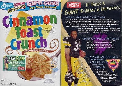 Jerome Bettis on Cinnamon Crucnch Cereal Box