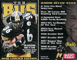 Jerome Bettis Food Promotion Card