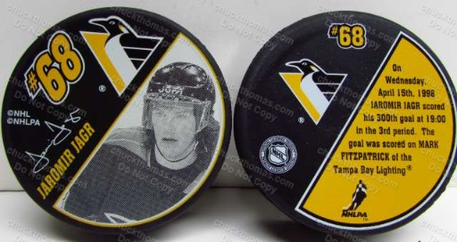 Jaromir Jagr 300th Goal Commemorative Penguin Hockey Puck