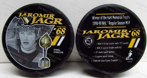 Jaromir Jagr 1996 Winner of the Hart Trophey Commemorative Puck