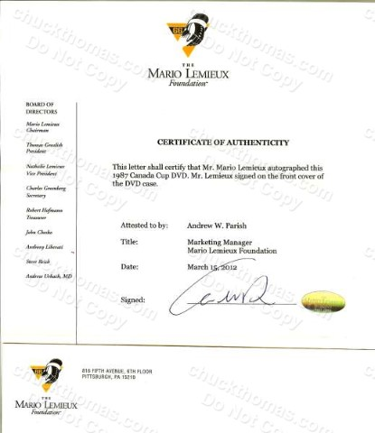 Mario Lemieux Foundation Certificate of Authenticity