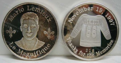 Mario Lemieux Retirement Coin Only 250 Made 1 Troy oz .999 Silver
