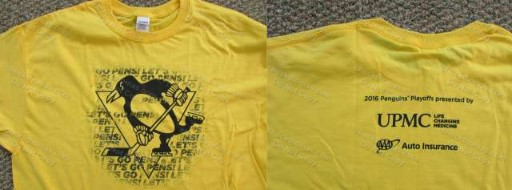 Penguin 2016 GOLD Playoff Tee XL Sponsored by UPMC and AAA Insurance
