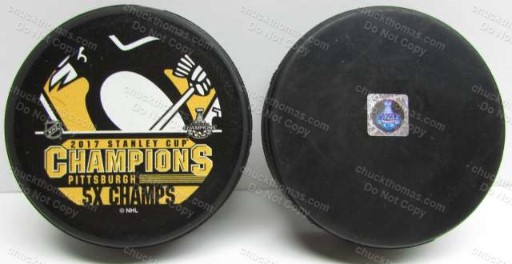 Penguin 2017 5 Times Stanley Cup Champions Puck