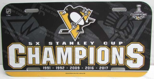 Pens 2017 Stanley Cup 5X Champions  License Plate