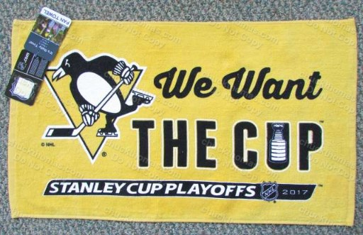 Penguins 2017 Playoff GOLD Towels 'We Want the Cup'
