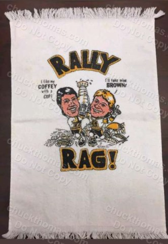 Early 1990s Paul Coffey and Rob Brown Rally Rag Cheering Towel