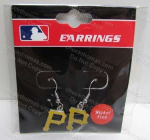 "Pirates Baseball J Hook ""P"" Earrings"