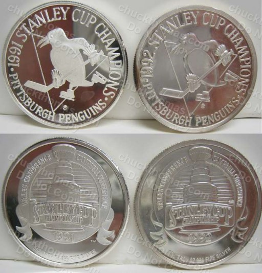 TWO Penguins 1991 and 1992 Stanley Cup Highland Mint .999 Silver Coins