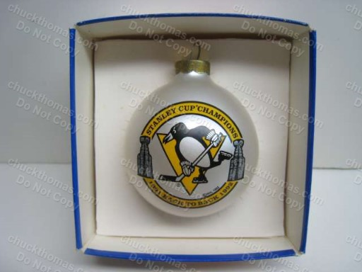 Pens Stanley Cup Back to Back Christmas Tree Ornament