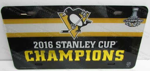 Penguins 2016 Stanley Cup Champs Crystal Reflective Lettering