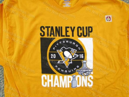 2016 Penguins Stanely Cup Champions GOLD Tee Shirt VERY NICE !