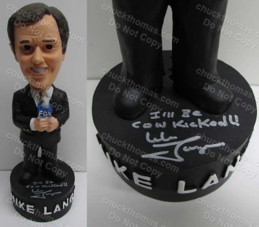 Pens Announcer Mike Lange Autographed Bobbing Head Doll