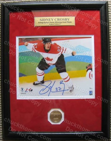 Sidney Crosby Auto Canada Cup Winning Goal Double Framed and Matted
