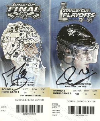 Fleury and Malkin Autographed Stanley Cup Ticket Stubs