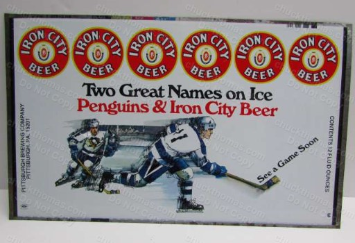 1970s Penguin Hockey Iron City Beer 12oz Flat Can