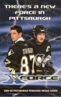 sidney crosby and mario lemieux on the cover season ticket holder in small gold print at the top of the cover 5x8 inches 358 pages of team history and