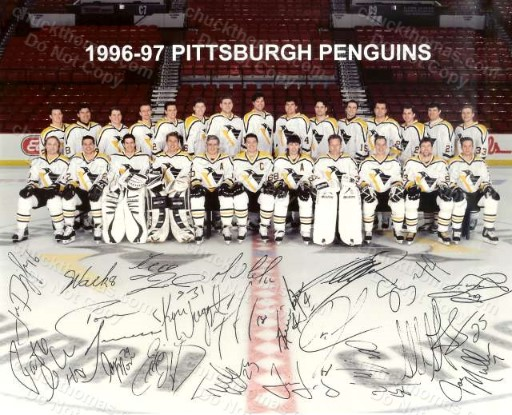 Penguins 1996-97 Team Auto Facsimile 8x10