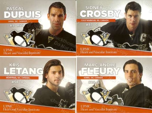 2013-14 Penguins UPMC Heart Healthy 10 Card Set