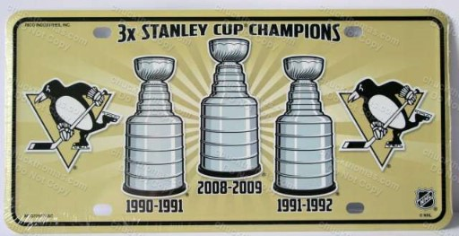 Penguin Hockey 3 times champions stanley cup champtions full size metal license plate