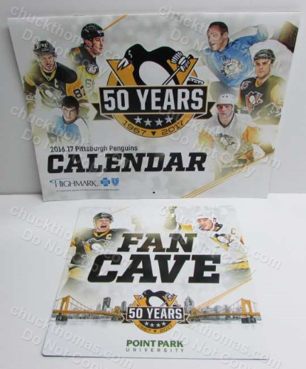 Penguin Hockey 50th Anniversary Logo Calendar and Fan Cave Magnet