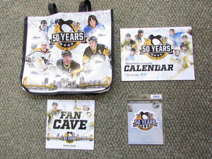 Penguin Hockey 50th Anniversary Logo Tote Bag, Calendar, Magnet and Cloth Jersey Patch