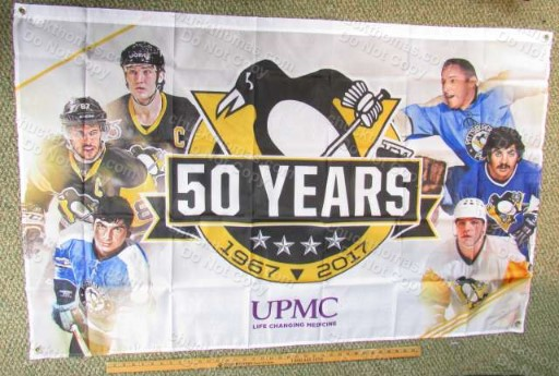 Penguins 50 Years 3 x 4 Foot Banner Home Game Promo