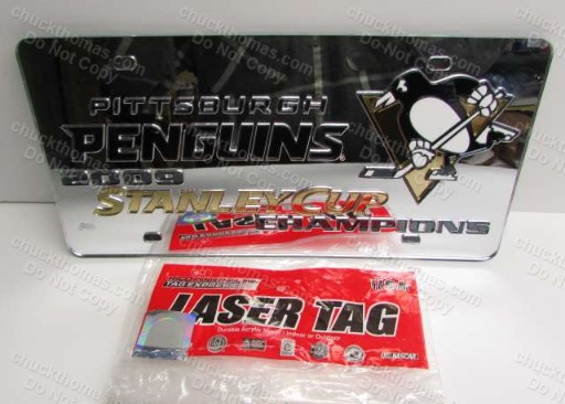 Penguin Hockey 2009 Stanley Cup Champs Laser Tag Acrylic License Plate