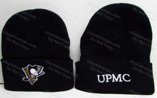 Penguins Ski  Hat with Pens and UPMC Health System Logos
