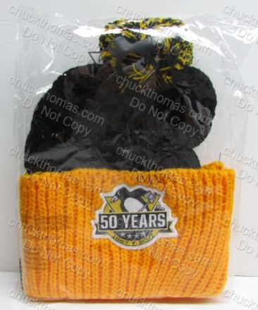 Penguins 50 Seasons Logo Knit Pom Pom Hat