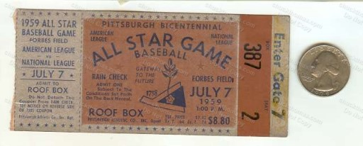 1959 Baseball All Star Ticket Stub