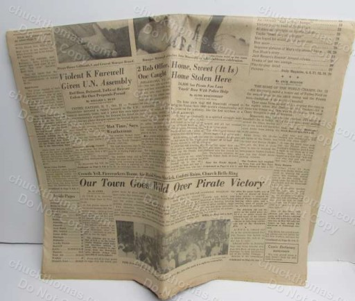 Pittsburgh Post Gazette ORIGINAL 1960 World Series Champs BUCS ARE THE CHAMPS Newspaper