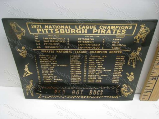 1971 Pittsburgh Pirates Baseball National League Champions Roster Ashtry